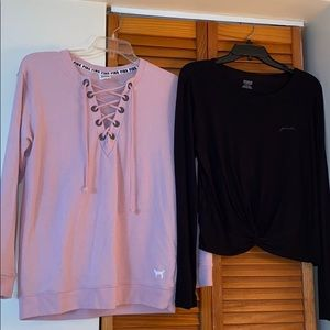 Sweatshirt and cropped T-shirt